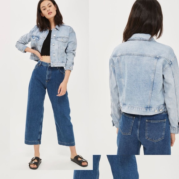 9f9529a271 Topshop Moto Cropped Denim Jacket S 6 light wash. M 5a823c22b7f72b81cf1c8dea